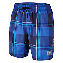 "Buy Speedo Men's Wide Check Leisure 16"" Watershorts, Navy/Blue Online at johnlewis.com"