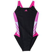Buy Adidas Inspiration One-Piece Print Swimsuit, Black/Pink Online at johnlewis.com