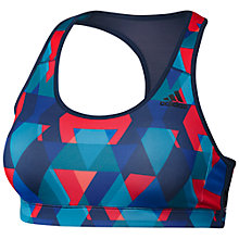 Buy Adidas Triax Print Racer Back Sports Bra, Blue Online at johnlewis.com