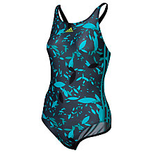 Buy Adidas Allover Print Swimsuit, Black/Blue Online at johnlewis.com