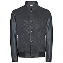 Buy Reiss Cameron Contrast Leather Bomber Jacket, Indigo Online at johnlewis.com