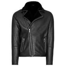 Buy Reiss Renoir Shearling Aviator Jacket, Black Online at johnlewis.com