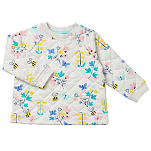 Buy John Lewis Baby Floral Quilted Sweatshirt, Grey Marl Online at johnlewis.com
