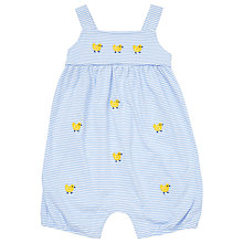 Buy John Lewis Baby Stripe Duck Jersey Playsuit, Blue/White Online at johnlewis.com