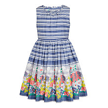 Buy John Lewis Girls' Border Floral Stripe Dress, Multi Online at johnlewis.com