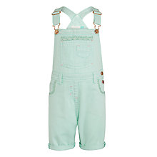 Buy John Lewis Girls' Bib Short Dungarees, Aqua Online at johnlewis.com