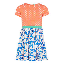 Buy John Lewis Girls Spot Floral Jersey Dress, Peach/Blue Online at johnlewis.com