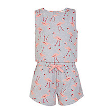 Buy John Lewis Girls' Jersey Flamingo Print Playsuit, Grey Online at johnlewis.com