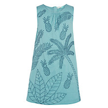 Buy John Lewis Girls' Embroidered Pineapple Dress, Green Online at johnlewis.com
