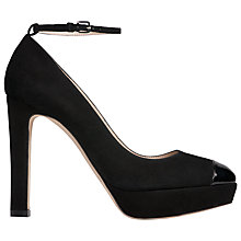 Buy L.K. Bennett Sally Platform Ankle Strap Court Shoes, Black Suede Online at johnlewis.com