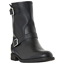 Buy Dune Ralphey Low Block Heeled Calf Boots, Black Leather Online at johnlewis.com