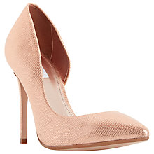 Buy Dune Clarah Asymmetric Stiletto Heeled Court Shoes, Rose Gold Metallic Online at johnlewis.com