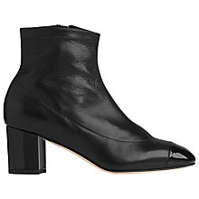 Buy L.K. Bennett Kelly Block Heeled Ankle Boots, Black Leather Online at johnlewis.com