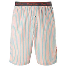 Buy Calvin Klein Mark Stripe Woven Cotton Pyjama Shorts, Red/Grey Online at johnlewis.com