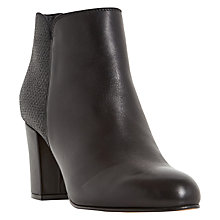 Buy Dune Palleton Block Heeled Ankle Boots, Black Leather Online at johnlewis.com