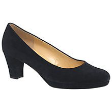 Buy Gabor Figaro Block Heeled Court Shoes, Pacific Suede Online at johnlewis.com