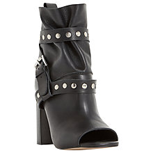 Buy Dune Olenna High Block Heeled Ankle Boots, Black Leather Online at johnlewis.com