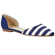 Buy John Lewis Two Part Pointed Flat Pumps, Navy Stripe Online at johnlewis.com