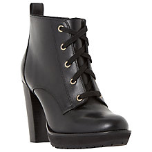 Buy Dune Onslow Lace Up Block Heeled Ankle Boots, Black Leather Online at johnlewis.com