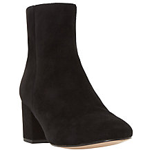 Buy Dune Pebble Block Heeled Ankle Boots, Black Suede Online at johnlewis.com