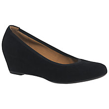 Buy Gabor Fantasy Wedge Heeled Court Shoes, Black Suede Online at johnlewis.com