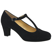 Buy Gabor Kurve T-Bar Block Heeled Court Shoes, Black Suede Online at johnlewis.com