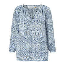 Buy Collection WEEKEND by John Lewis Lavinia Tile Print Blouse, Blue/Ivory Online at johnlewis.com