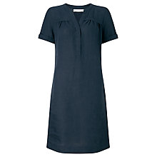 Buy John Lewis Linen Notch Dress, Navy Online at johnlewis.com