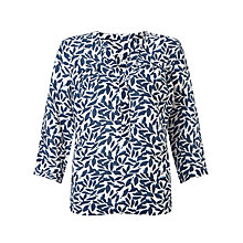 Buy John Lewis Gathered Front Leaf Print Linen Blouse, White Online at johnlewis.com