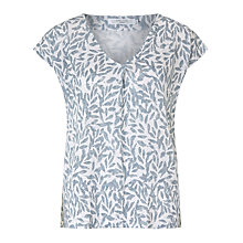 Buy John Lewis Pleated Linen V-Neck Leaf Print T-Shirt Online at johnlewis.com