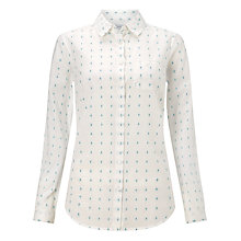 Buy John Lewis Dobby Flower Shirt, White/Green Online at johnlewis.com