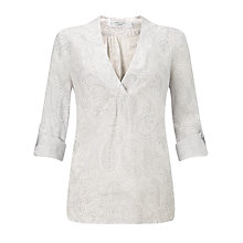 Buy John Lewis Paisley Print Linen Tunic Top, Grey Online at johnlewis.com