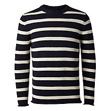 Buy Selected Homme Weighty Crew Neck Stripe Jumper, Night Sky/White Online at johnlewis.com