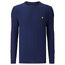 Buy Lyle & Scott Long Sleeve Cable Knit Jumper, Navy Online at johnlewis.com