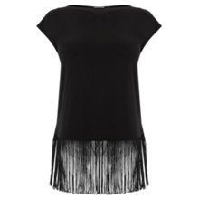 Buy Oasis Fringed Top, Black Online at johnlewis.com