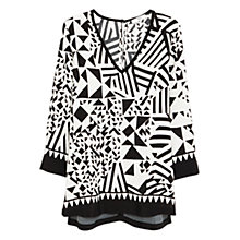 Buy Mango Geometric Print Oversized Blouse, Natural White Online at johnlewis.com