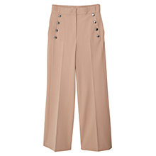 Buy Mango Buttoned Flared Trousers, Medium Brown Online at johnlewis.com