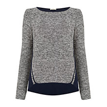 Buy Oasis Tweed Patched Sweat Top, Black/White Online at johnlewis.com