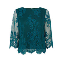 Buy Coast Katia Lace Top, Forest Green Online at johnlewis.com