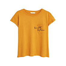 Buy Mango Embroidered Message Pocket Detail Cotton T-Shirt, Medium Yellow Online at johnlewis.com