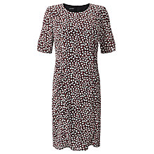 Buy Gerry Weber Gathered Sides Printed Dress, Black/Ecru Online at johnlewis.com