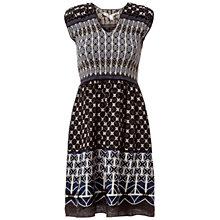 Buy Max Studio Smocked Jacquard Dress, Black/Blue Online at johnlewis.com