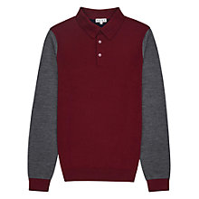 Buy Reiss Jenga Block Long Sleeve Polo Shirt, Bordeaux Online at johnlewis.com