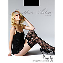 Buy Jonathan Aston Sweet Roses Hold Ups, Black Online at johnlewis.com
