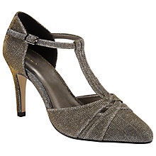 Buy John Lewis Dazzling T-Bar Stiletto Court Shoes, Gold Online at johnlewis.com