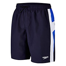 "Buy Speedo Men's Logo Yoke Splice 18"" Watershorts, Blue/Navy Online at johnlewis.com"