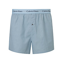 Buy Calvin Klein Woven Stripe Boxer Shorts, Blue Online at johnlewis.com
