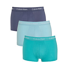 Buy Calvin Klein Low Rise Solid Trunks, Pack of 3, Blue Online at johnlewis.com