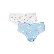 Buy John Lewis Girls' Frilly Briefs, Pack of 2, White/Blue Online at johnlewis.com