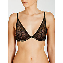 Buy Calvin Klein Naked Glamour Convertible Lace Plunge Bra, Black Online at johnlewis.com